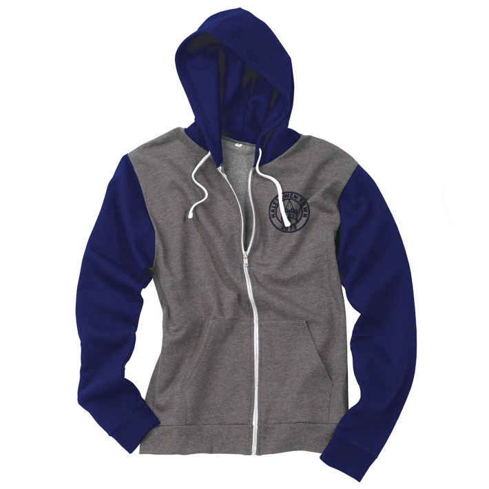 Retro Two Tone Hooded Zip Thru Top embroidered with club logo to left breast.